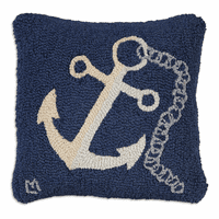 White Chain Anchor Hooked Wool Pillow