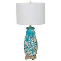 White Coral on Aqua Table Lamp
