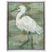 White Heron I Framed Canvas