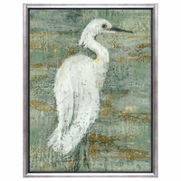 White Heron II Framed Canvas