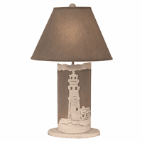 White Lighthouse Table Lamp with Nightlight