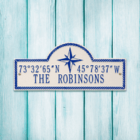 White & Navy Personalized Coordinates Plaque