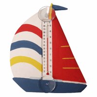 White, Red & Blue Sailboat Large Window Thermometer
