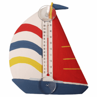 White, Red & Blue Sailboat Small Window Thermometer