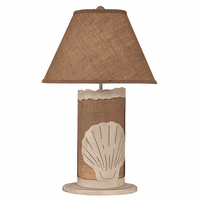 White Scallop Shell Table Lamp with Nightlight