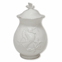 White Seahorse Canister - 8 Inch