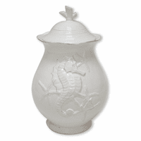 White Seahorse Canister - 9 Inch