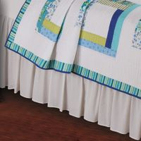 White Seersucker Bedskirt - Twin- OVERSTOCK