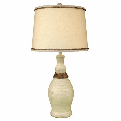 White Slender Neck Table Lamp with Rope Accent