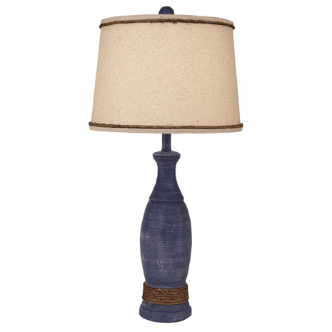 White-Washed Navy and Rope Table Lamp