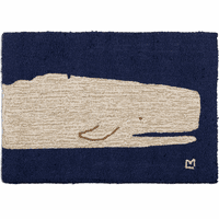 White Whale Closeup Hooked Wool Accent Rug