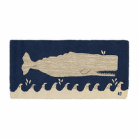 White Whale on Navy Hooked Wool Rug
