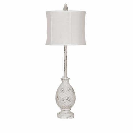 Whitewashed Pineapple Buffet Lamp