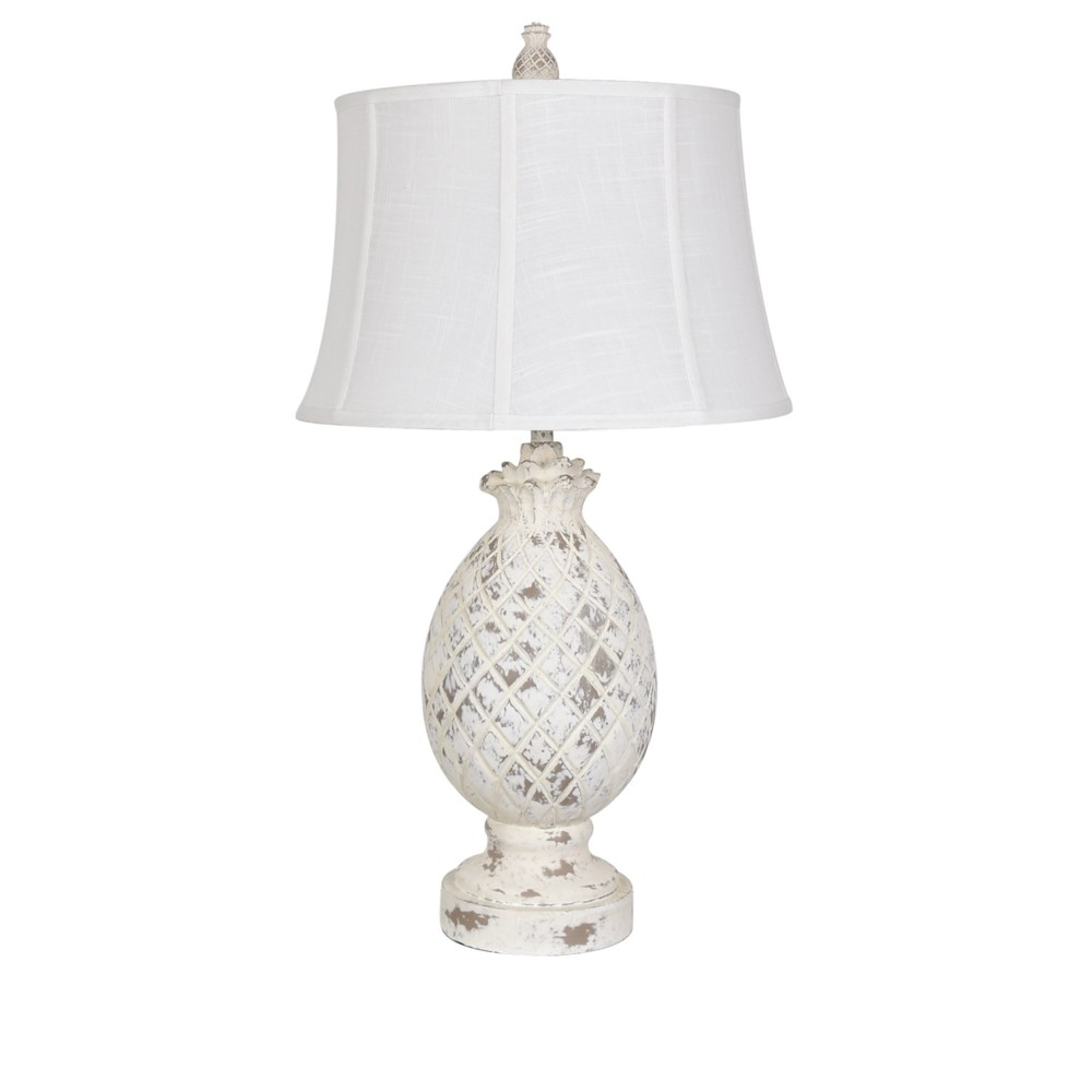 Whitewashed Pineapple Table Lamp