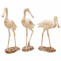 Whitewashed Seagull Statuaries - Set of 3
