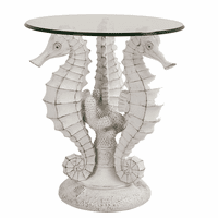 Whitewashed Seahorse Side Table