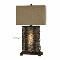 Wicker Table Lamp with Nightlight