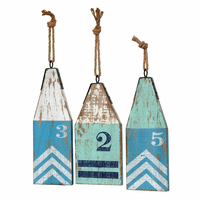 Wood Buoy Wall Art - set of 3