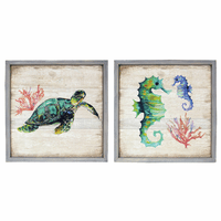 Wood Coastal Wall Art - Sea Turtle & Seahorse - Set of 2