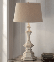 Wooden Column Table Lamp