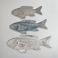 Woodgrain Fish Trio Figurines - Set of 3