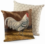 "18"" Hamburg Silver Spangled Rooster Square Throw Pillows, Set of 4"