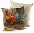 "18"" Leghorn Rooster Bird Decorative Square Throw Pillows, Set of 4"