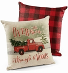 "18"" Over the River Red Truck Decorative Square Throw Pillows, Set of 4"