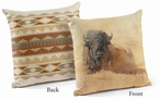 "18"" Resting Bull Bison Decorative Square Throw Pillows, Set of 4"