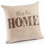 "18"" Bless This Home Decorative Square Throw Pillows, Set of 4"