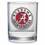 Alabama Crimson Tide Red Pewter Accent Clear Glasses, Set of 2