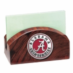 Alabama Crimson Tide Red Wood Business Card Holder with Pewter Accent