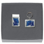 Alaska Flag Blue Money Clip & Key Chain Gift Set with Pewter Accents