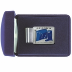 Alaska Flag Blue Steel Money Clip with Pewter Accent
