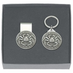 Alaskan King Crab Money Clip & Key Chain Gift Set with Pewter Accents