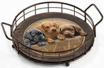 All Hands on Deck Lab Puppies Metal and Wood Serving Trays, Set of 2