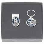 Alligator with Florida Blue Money Clip & Key Chain Pewter Gift Set