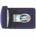 Alligator with Florida Blue Steel Money Clip with Pewter Accent