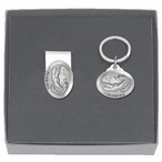 Alligator with Florida Money Clip & Key Chain Pewter Gift Set