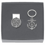 Anchor Money Clip & Key Chain Gift Set with Pewter Accents