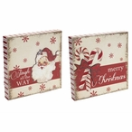 Antique Santa & Candy Canes Sitting Signs with Sayings, Set of 2