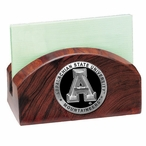 Appalachian State Black Wood Business Card Holder with Pewter Accent