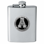 Appalachian State Mountaineers Black Stainless Steel Flask with Pewter