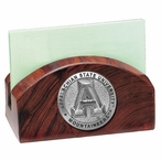Appalachian State Mountaineers Wood Business Card Holder with Pewter
