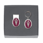 Arizona State Pitchfork Red Pewter Money Clip & Key Chain Gift Set