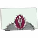 Arizona State Red Pitchfork Metal Business Card Holder with Pewter
