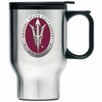 Arizona State Red Pitchfork Travel Mug with Handle & Pewter Accent