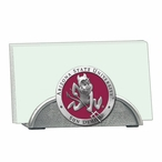 Arizona State Red Sparky Metal Business Card Holder with Pewter Accent