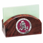 Arizona State Red Sparky Wood Business Card Holder with Pewter Accent