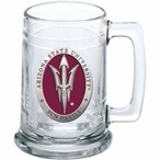 Arizona State Sun Devils Pitchfork Red Pewter Accent Glass Beer Mug